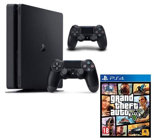 CONSOLE PS4 SLIM 500GO+2 DUAL SHOCK+GTA V